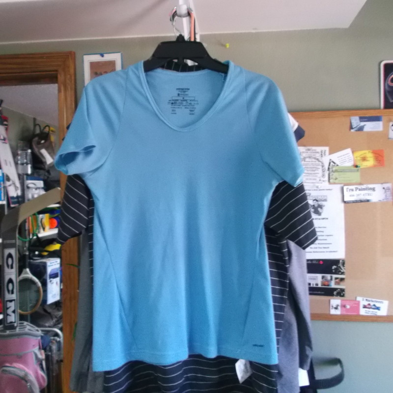 Patagonia Capilene2 women&#039;s athletic shirt blue size medium polyester #9331<br /> Rating:   (see below) 4 - Fair Condition<br /> Team: N/A <br /> Event: n/a   <br /> Brand: Patagonia Capilene2<br /> Size: Medium- women (Measured Flat: Across Chest 17.5&quot;; Length 24.5&quot;) armpit to armpit &amp; shoulder to bottom hem <br /> Color: blue <br /> Style: short sleeve; crew neck<br /> Material: 100% polyester <br /> Condition: - Fair Condition - wrinkled; slight fading; noticeable pilling and fuzz; staining under the armpits; faint yellowish staining on the back; signs of use (Please use photos to see the condition details) <br /> Shipping cost: $3.37 <br /> Item #: 9331