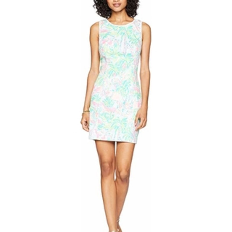 "LIlly Pulitzer, EUC, Mila Shift Dress, Multi, Size: 6<br /> <br /> ""The Mila Shift is a gorgeous way to welcome summer This short printed dress is perfect for a daytime party or a wedding. A Dress with lace sides is slimming and elongating - who doesn't love that?<br /> Sleeveless Shift Dress.<br /> Vintage Dobby- Printed (100% Cotton).<br /> 18"" From Natural Waist to Hem.<br /> Machine Wash Cold.""<br /> <br /> Photo and description credits: lillypulitzer.com"