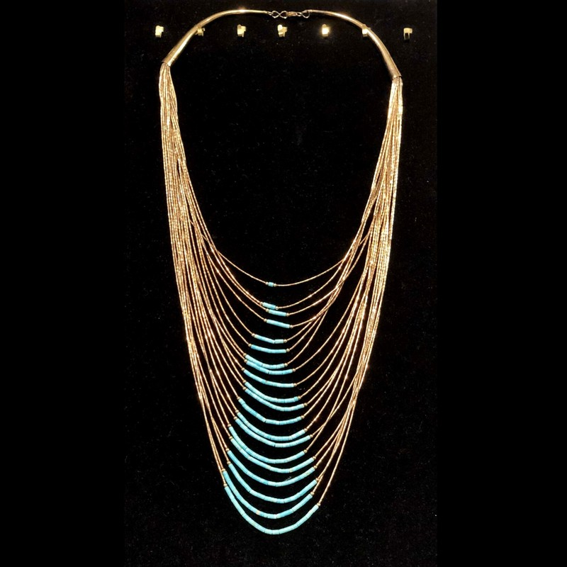 "Stunning...is the only way to describe this exceptional piece!<br /> 20 Strands of gold plated beads and genuine turquoise beads.<br /> Features a hook closure, approximately 30"" long.<br /> Shipping cost includes insurance."
