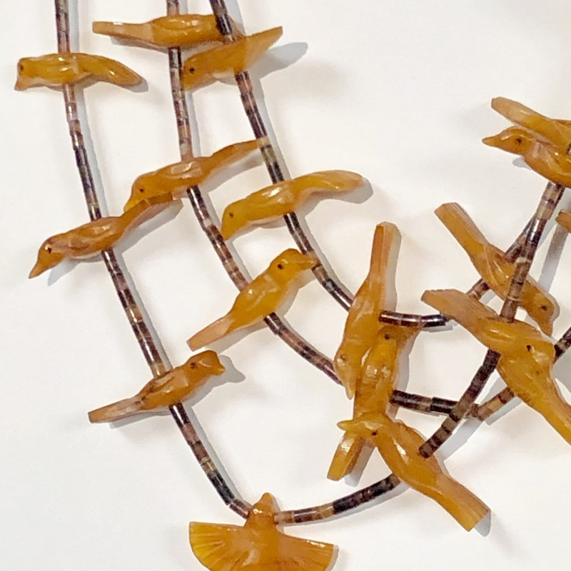 "Native American Fetish Necklace featuring three strands of high quality Amber Birds<br /> Pre-Owned, Excellent Condition<br /> 30"" long<br /> *Shipping includes Insurance*"