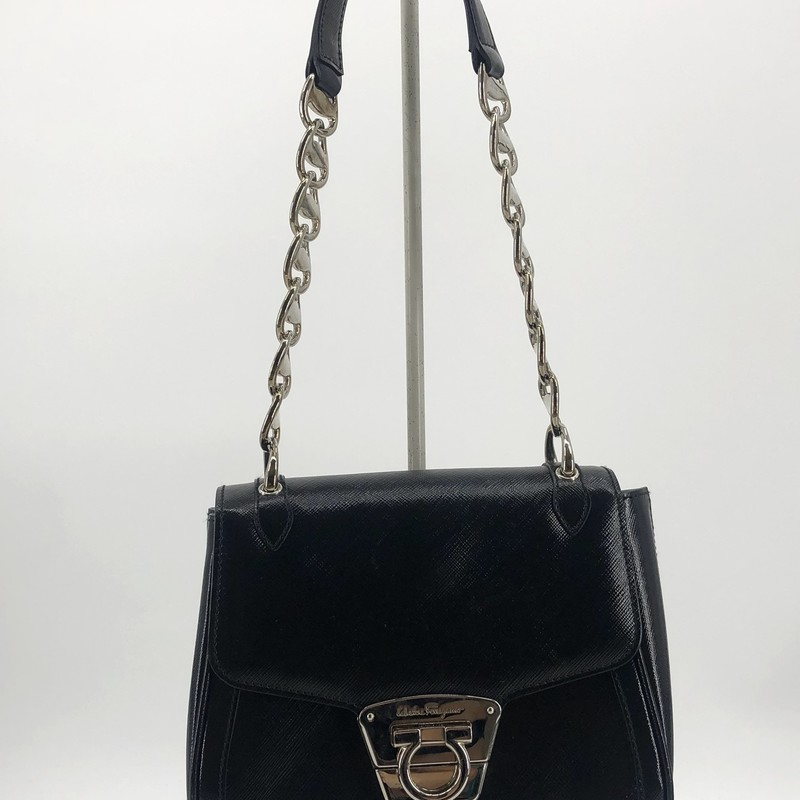 "Salvatore Ferragamo black leather small bag with short strap<br /> <br /> Measurements:<br /> 6"" h<br /> 7"" w<br /> 3"" d"