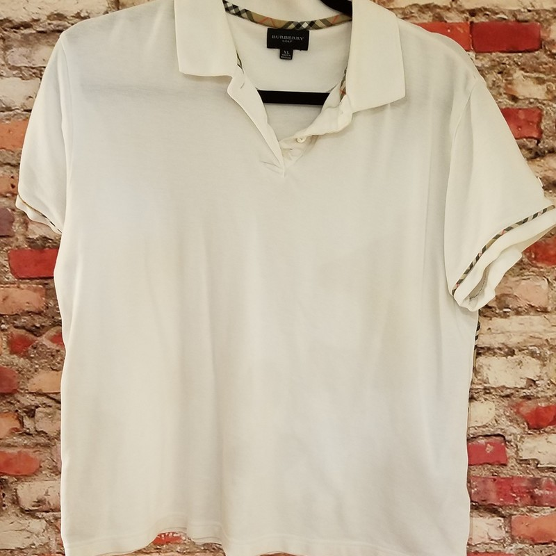 BURBERRY VINTAGE WOMEN'S<br /> GOLF SHIRT WHITE<br /> IN EXCELLENT CONDITION<br /> SIZE XL
