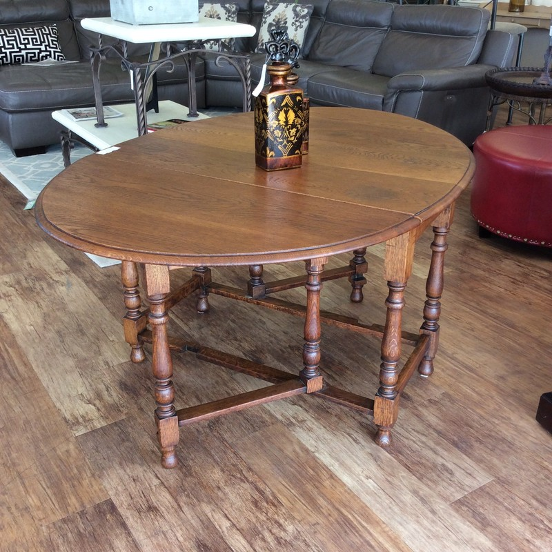 This charming oval shaped drop-leaf table will be a reminder of the past!  By design, it's a great solution for small spaces or mutifunctioning rooms. So when space is scarce, a drop-leaf table is an efficient dining solution. It is functional in addition to being beautiful. Comfortable and welcoming furniture has a timeless feel, so if your decor style incorporates the simple things in life then this one would be a welcome addition to your home!