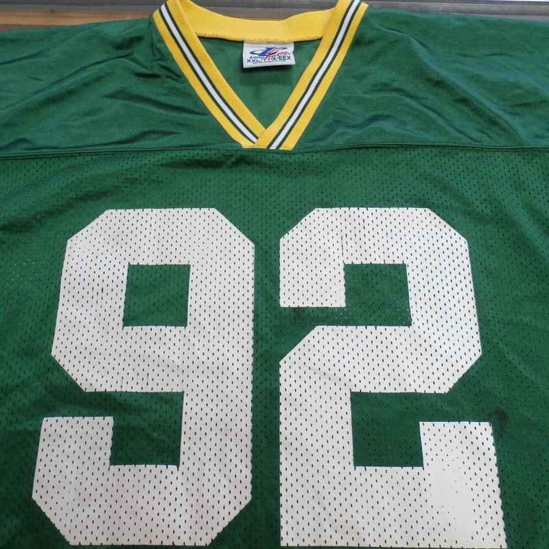 "Logo Athletic Men's Green Bay Packers Reggie White Jersey size 2XL green #32734<br /> Rating:   (see below) 4- Fair Condition<br /> Team: Green Bay Packers<br /> Player:  Reggie White<br /> Brand: Logo Athletic<br /> Size: Men's   2XL (Measured Flat: across waist 13"", length 28"" Inseam 33"" )<br /> Measured flat: hip to hip; hip to hem; and groin to hem<br /> Color: green<br /> Style: Football Jersey; screen printed;<br /> Material:   100% polyester<br /> Condition: - 4- Fair Condition - wrinkled; minor pilling and fuzz; minor stretching from use; item has staining in multiple spots;<br /> Item #: 32734<br /> Shipping:FREE"