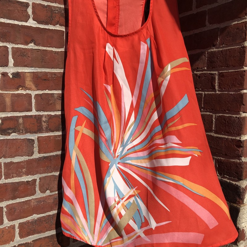 Silky long orange tunic with light blue, celery and tan color strokes creating an abstract floral image.