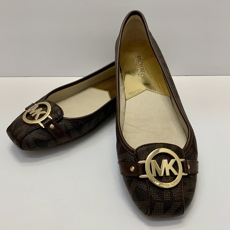 Michael Kors Fullton Flat<br /> Brown & Gold<br /> Size: 9.5