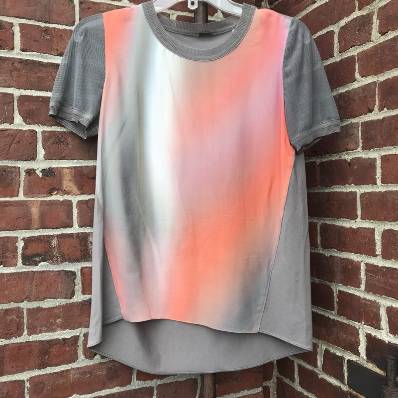 Mesh short sleeves on a body of gray and blush ombre. Tapers at the bottom with subtle high-low hem.  Size: XS