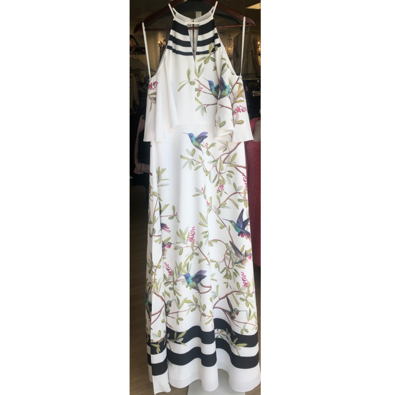 Ted Baker white with bird print maxi dress<br /> Cold shoulder<br /> NWT, available in other sizes, call for info<br /> <br /> Size Ted Baker 3 or medium<br /> Measurements: