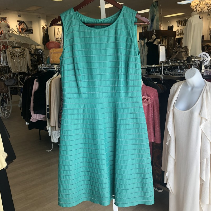 "Lafayette 148 green leather strip and mesh sleeveless dress, fit and flare style<br /> <br /> measurements:<br /> chest: 34""<br /> waist: 30""<br /> hips: 34""<br /> length: 37"""