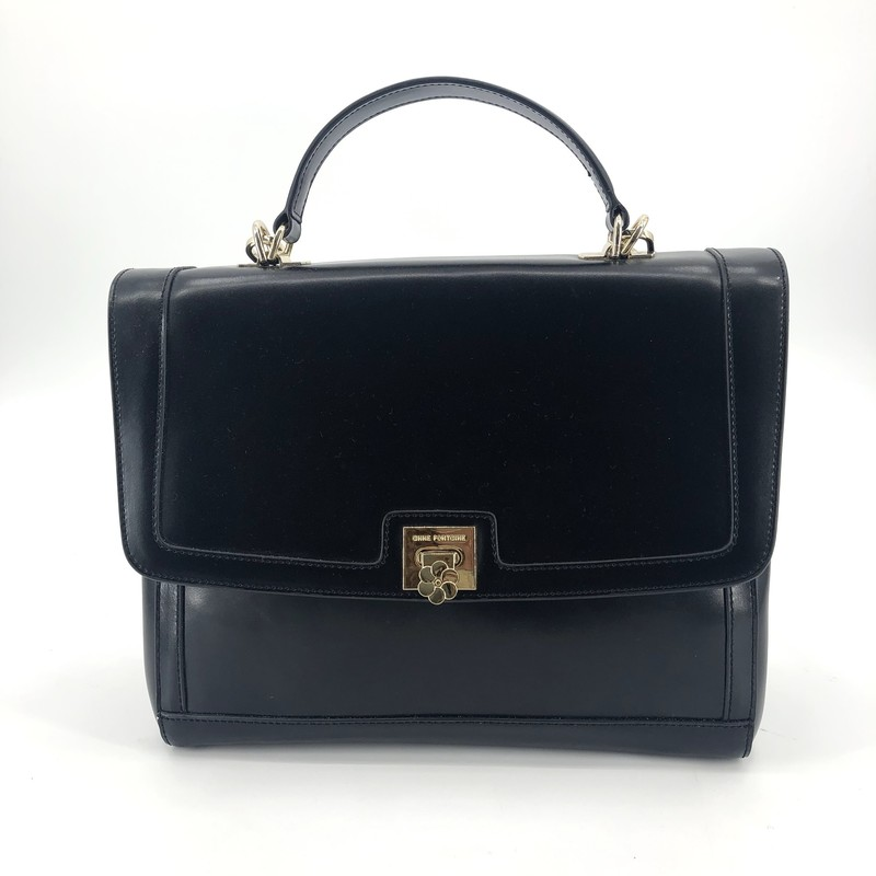 "Anne Fontaine black leather satchel with long strap, like new!<br /> Measurements:<br /> 11"" h<br /> 12"" w<br /> 5"" d<br /> 23"" strap drop"