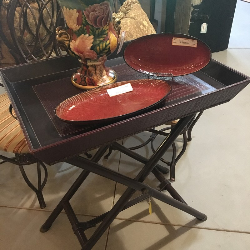 Butler Table from Pottery Barn, Brown with wood legs