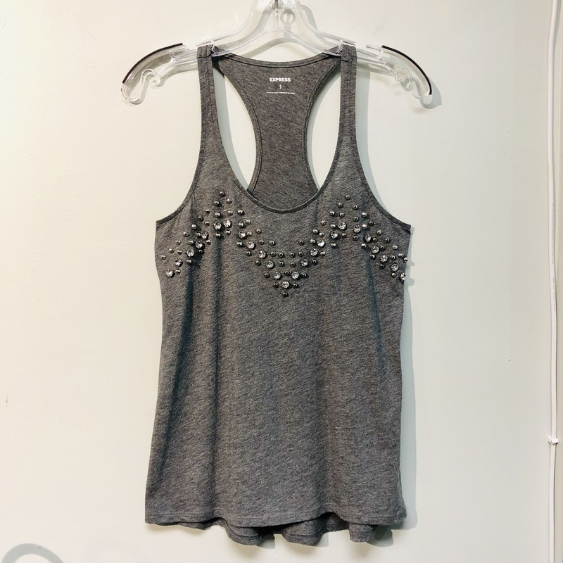 Express Tank Top, pre-loved, excellent condition<br /> Color: Gray<br /> Size: Small<br /> Features: Racer Back, Silver Studs, Clear Crystal Studs<br /> See photos for material and care instructions.