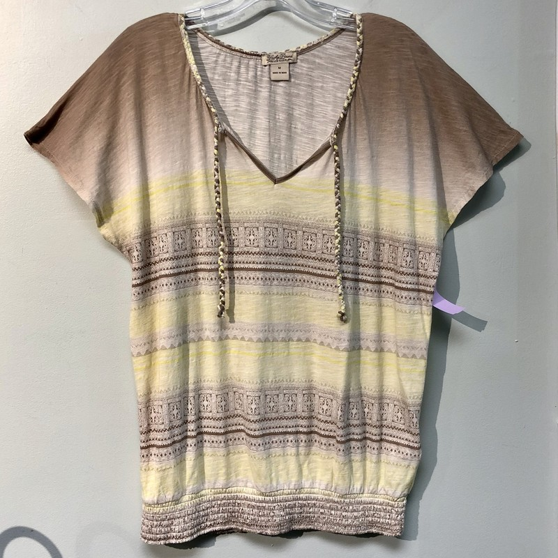 Lucky Brand Top, pre-loved<br /> Colors: brown ombre into yellow. Designs in brown<br /> Size: Medium<br /> Features: V-neck, Braided Collar with two tie strings. Stretch waist band. Drop shoulder.