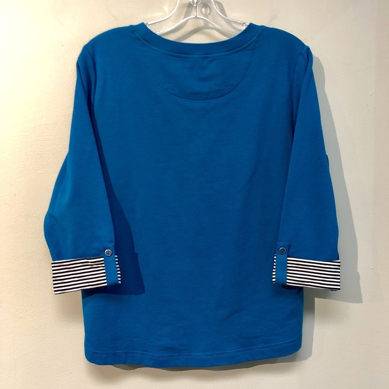 Karen Scott Top<br /> Color: Blue (dark turquoise) with black & white striped details on cuffs<br /> Size: Large Petite<br /> See photos for material & care instructions