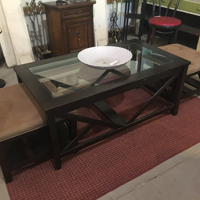 Coffee Table with 2 Seats and glass insert, Originally $500
