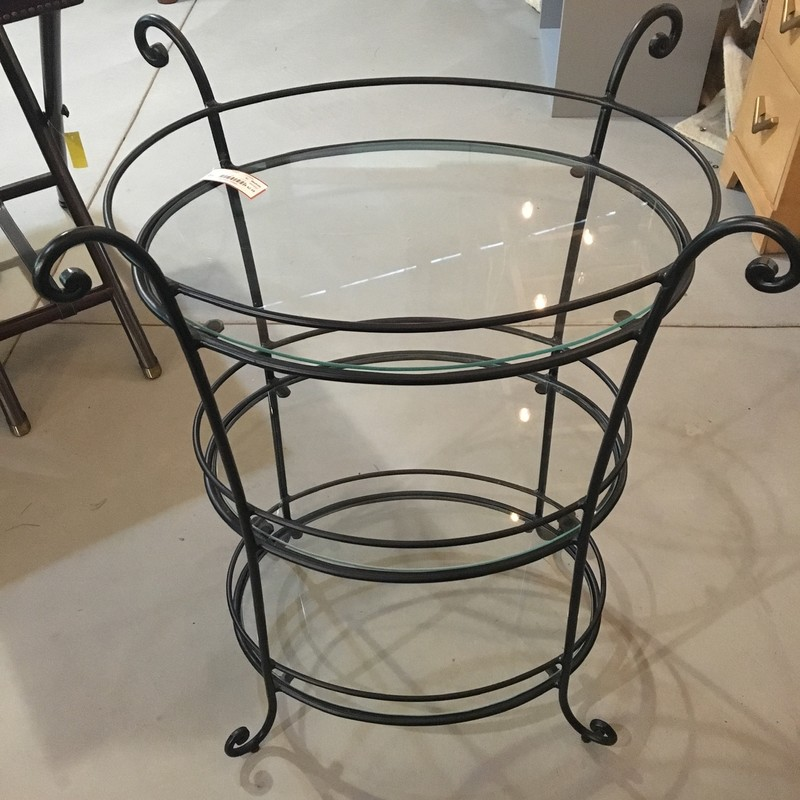 Metal and glass accent table with 3 Shelves