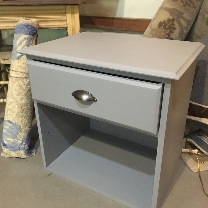 Nightstand/end table with one drawer, painted with Fusion Mineral Paint's Little Lamb
