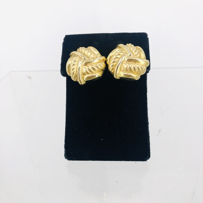 As Is 14KT Gold Braided Earring Clips<br /> <br /> Slight Surface Wear