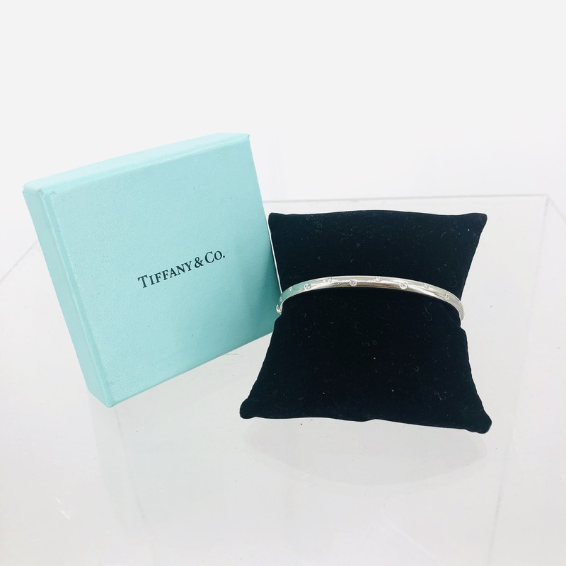 Tiffany & Co. Platinum Diamond Bangle Bracelet<br /> <br /> Size: Small