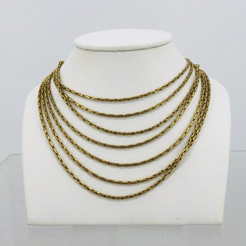 18 KT Yellow Gold Multi Chain Layered Necklace