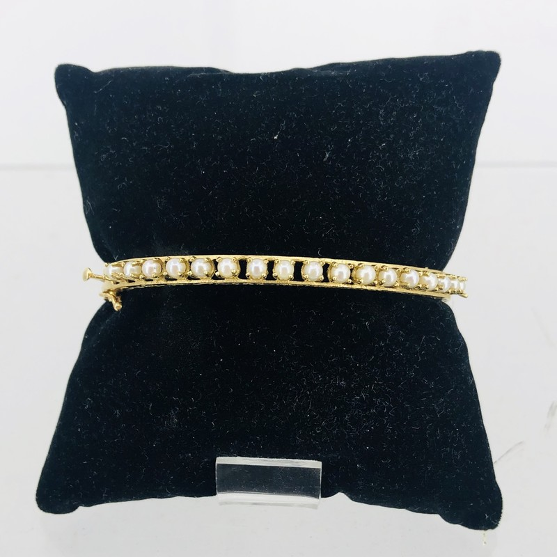 14 KT Gold and Pearl Bangle Bracelet