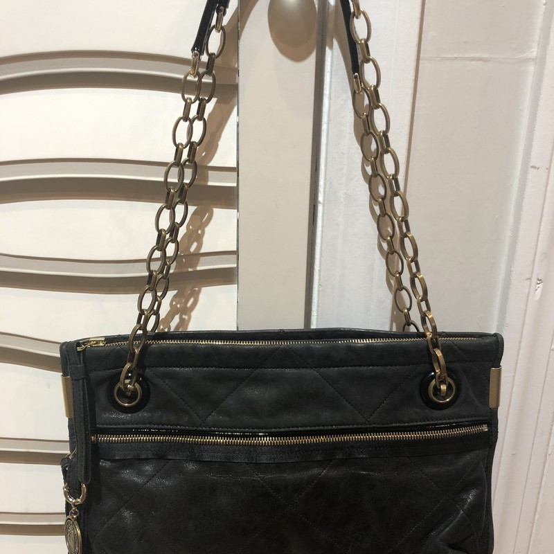 "Lanvin Convertible Bag, Black, Size: Large<br /> This bag can be worn on the shoulder or as a crossbody! Antique gold hardware, excellent condition.<br /> 14"" wide by 9"" tall. depth is expandable by pulling a zipper!"