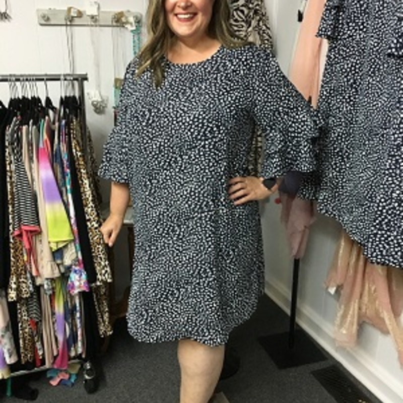Flounce Sleeve Shift Dress in Navy is gorgeous.  This is perfect for the office or a special occasion.  This dress would be perfect for a party.  It is made of 100% Polyester.  It is 38 inches long.