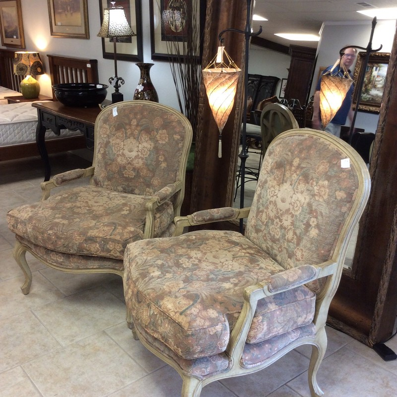 "Country French all the way!  Accent your room with this gorgeous pair! The wood frame has been painted an antique cream with distressing. Upholstered in a timeless, traditional floral pattern of soft, muted pastels from a cotton blend this pair reflects ""vintage"" in  such a good way! They are in great condition too."