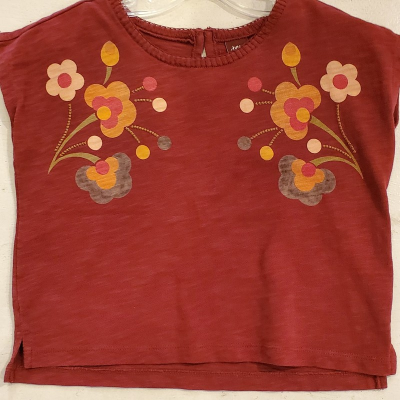 Tea Collection Top, Maroon, Size: 2