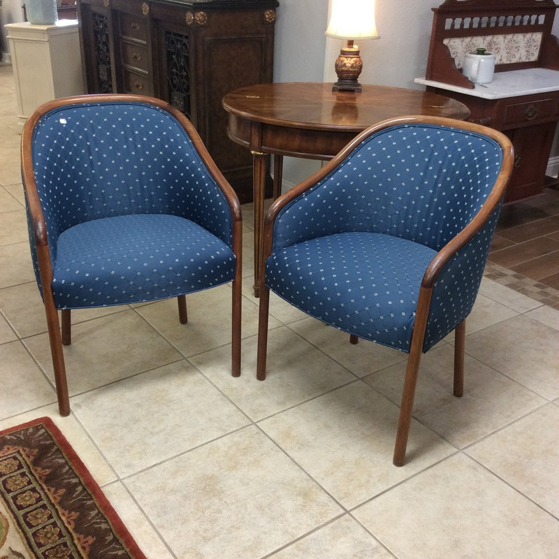 This petite vintage duo is priced to move at only $125. The timeless style of club chairs never seems to fall out of favor. These feature solid wood frames with a cherry finish, and a pretty blue upholstery that is in fabulous condition. Stop by and check them out!