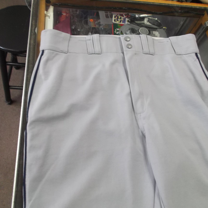 "Russell Athletic Men's Baseball Pants Straight Leg Size 40 Gray 100% Nylon #8542<br /> Rating:   (see below) 4 - Fair Condition<br /> Team: n/a<br /> Player: n/a<br /> Brand: Russell Athletic <br /> Size: 40 - Men's(waist 38""; Length 46""; inseam 33"")<br /> Color: Gray<br /> Style: Baseball pants; Straight Leg<br /> Material: 100% Nylon<br /> Condition: - Fair Condition - wrinkled; Crotch seam is ripped; Knees are stained; Leg bottoms are worn and have holes; Some loose strings; Stains all throughout; Material is faded and discolored; Shows definite signs of use(SEE PHOTOS FOR UNDERSTANDING OF CONDITION) <br /> Shipping cost: $6.35<br /> Item #: 8542"