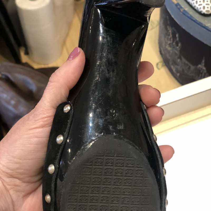 Chanel Black CC Slides, Black, Size: 40<br /> Black Hgh heel slides with studs and suede upper and gunmetal buckle. Shoes show some scratches and signs of wear on heels. gorgeous shoes!