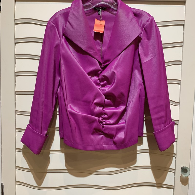 Pink formal blouse/jacket from Samuel Dong. There is no zipper or opening in the front of this top, but the spandex, polyester blend provides some stretch. Size medium.