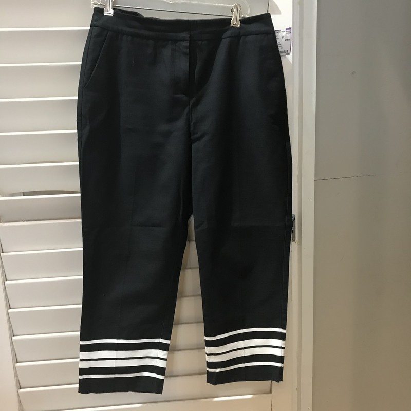 Talbots,Black tapered pants with white stripes at the bottoms, Sturdy cotton construction. Size: 10