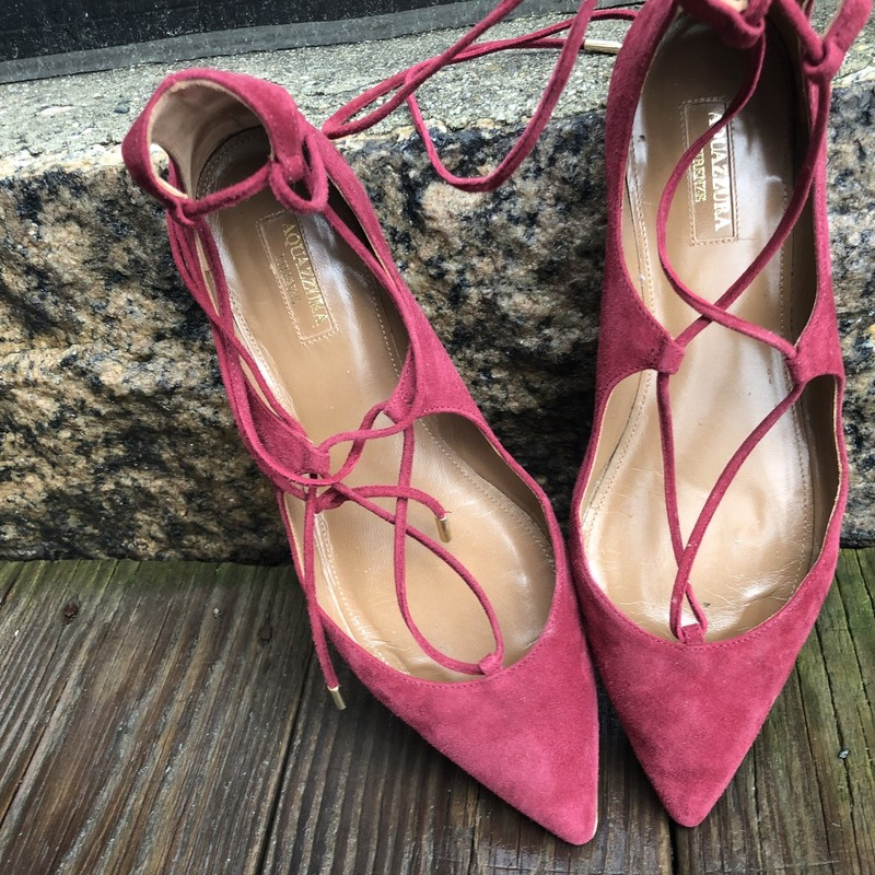 Wrap Tie Aquazurra Flats, Burgundy, Size: 38<br /> Burgundy Suede  wrap tie Aquazurra flats. good condition. some wear on botton of shoe