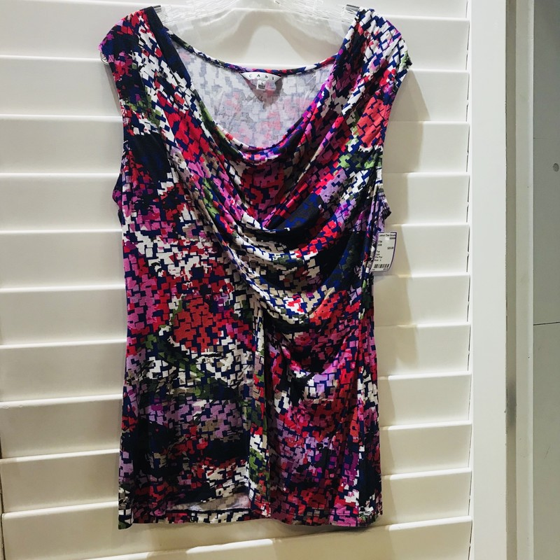 Cabi top with  Pink Purple, Red and Green and White design. Flattering gathered cowl neck gives slimming effect.  Size: L