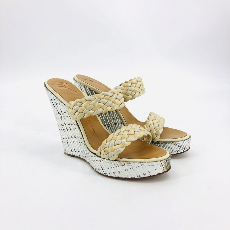 Zanotti Beige and Silver Bamboo Wedges<br /> <br /> size 7.5