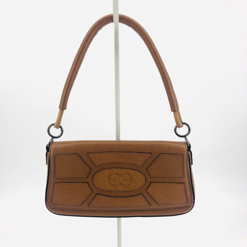 "Escada tan leather small shoulder pochett-style bag<br /> Escada symbol<br /> <br /> 6"" H<br /> 10"" W<br /> 2"" D<br /> 8"" Strap Drop"