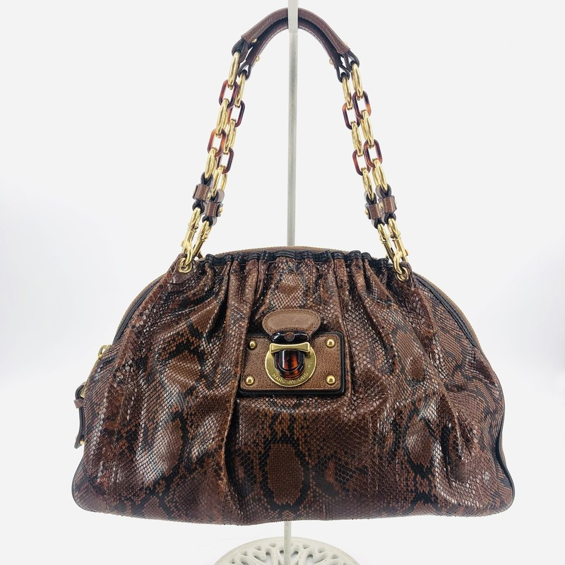 "Marc Jacobs original collection brown genuine snake skin shoulder bag<br /> <br /> 10"" H<br /> 15"" W<br /> 4"" D<br /> 8"" Strap drop"