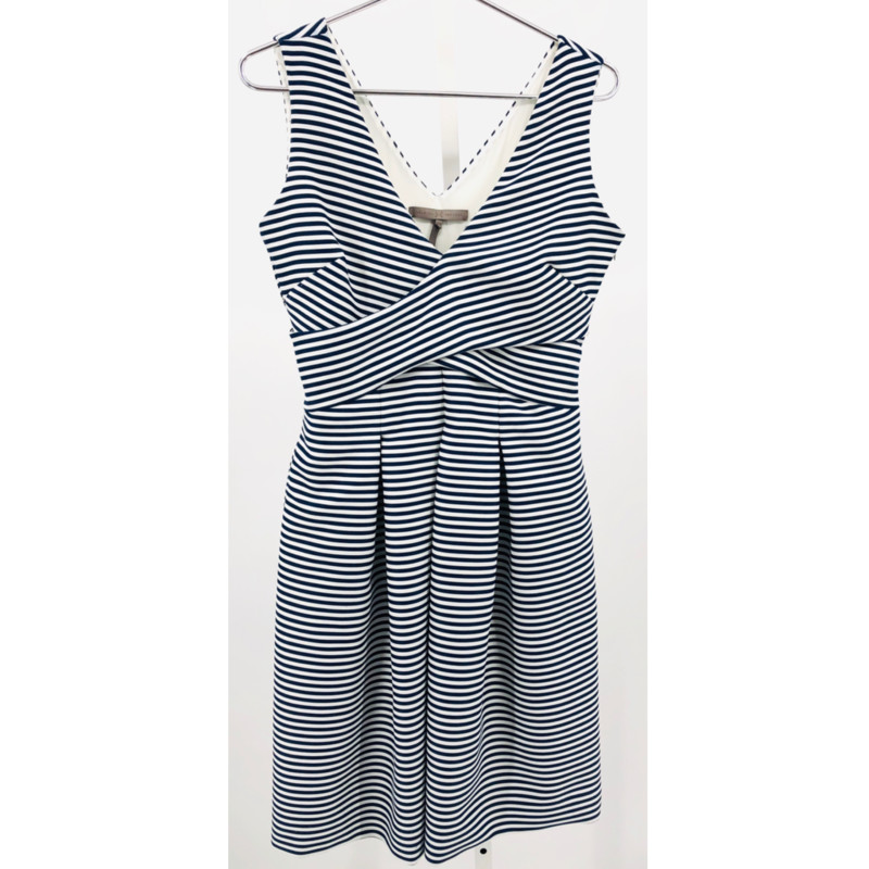 "Halston Heritage navy and white striped dress, see measurements<br /> <br /> Chest: 34""<br /> Waist: 31""<br /> Hips: 38""<br /> Length: 40"""