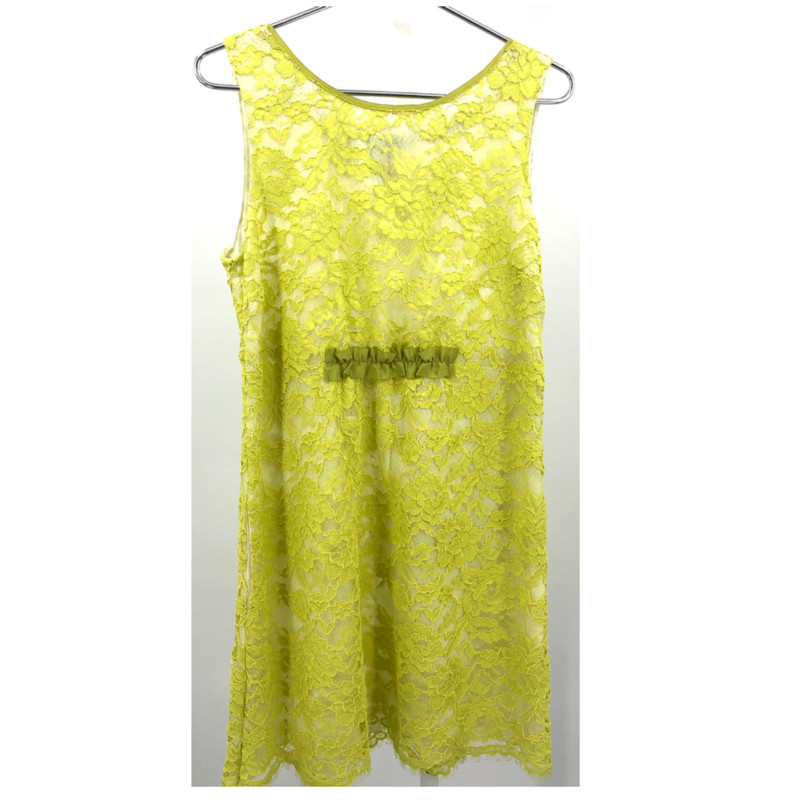 "Moschino lime lace sheath dress, size M<br /> Measurements:<br /> Chest: 36""<br /> Waist: 34""<br /> Hips: 42""<br /> Length: 37"""