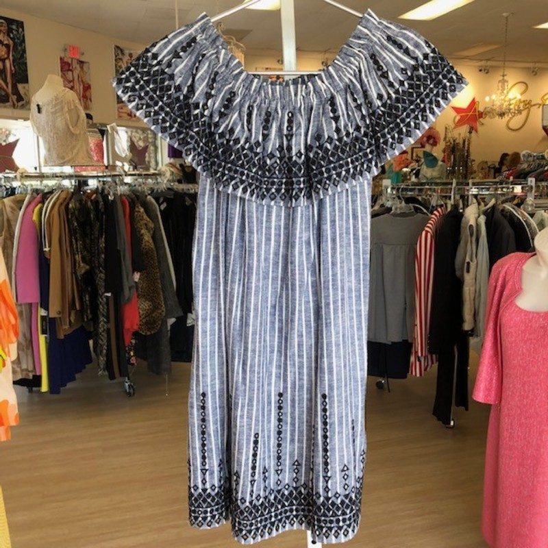 "Parker navy and white striped sundress, super cute<br /> <br /> Measurements:<br /> Chest: 32""<br /> Waist: 36""<br /> Hips: 40""<br /> Length: 28"""