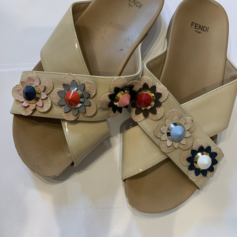 "Fendi ""Flowerland"" sandal. In good condition. Size 37. Some marking on the right shoe and around the edge of the shoe. See pictures."