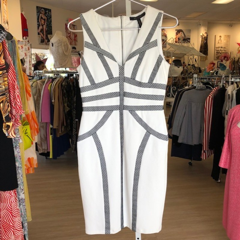 "BCBG white and grey sheath dress<br /> Measurements:<br /> <br /> Chest: 32""<br /> Waist: 27""<br /> Hips: 32""<br /> Length: 32"""