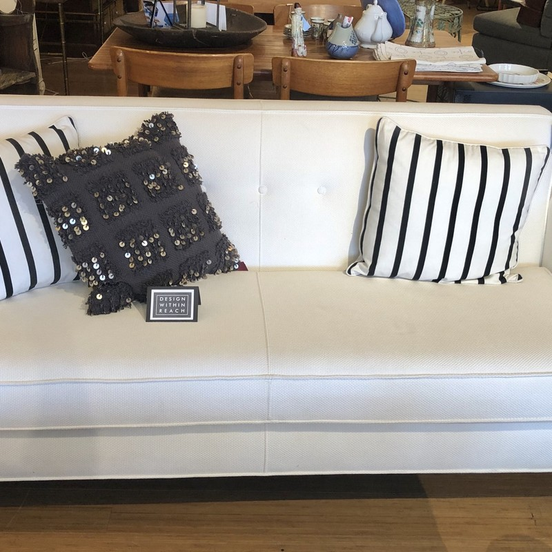 Sofa/Design Within Reach/2 Pillows, White, Size: 74x33x32