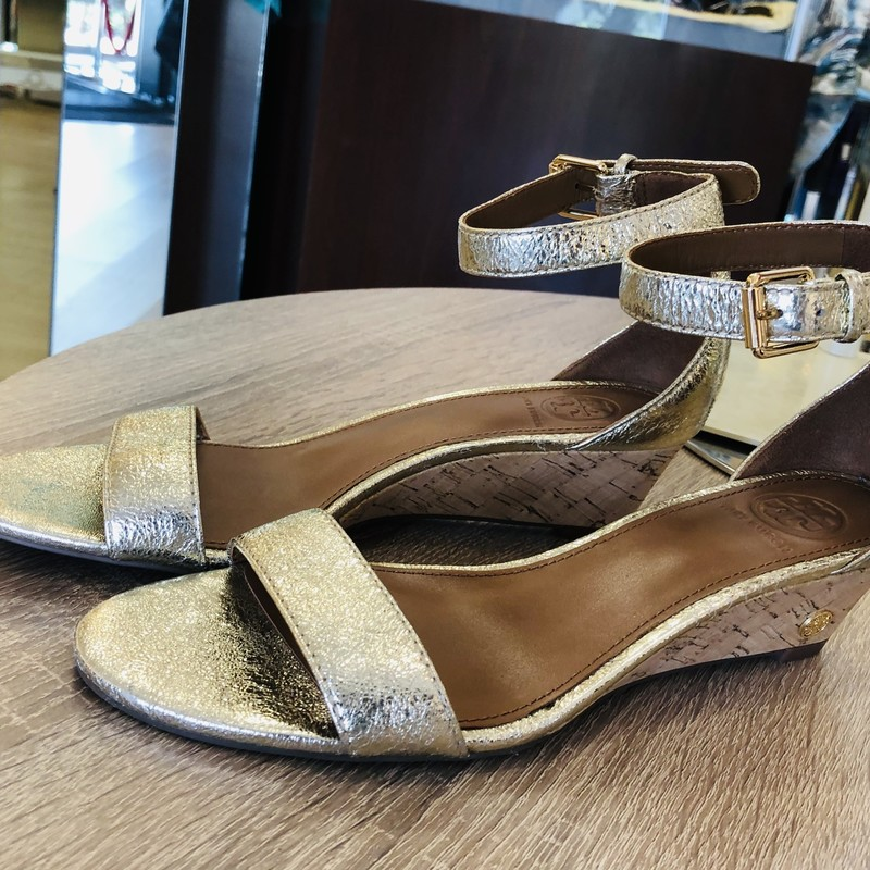 Tory Burch gold sparkle ankle strap wedge<br /> <br /> size 6.5