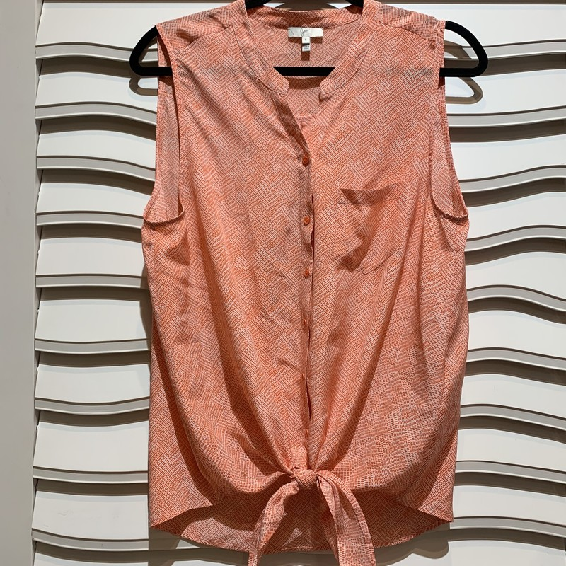 Sleeveless top from Joie in a great, summery orange. The bottom of the shirt features a cute tie feature. Size large.
