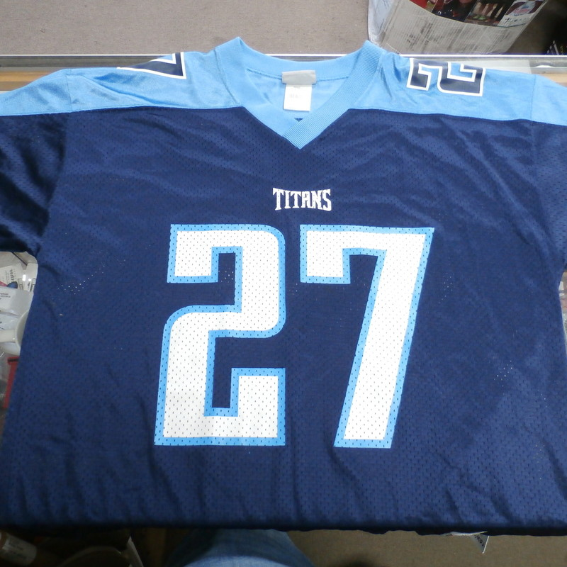"Reebok Men's Tennessee Titans Eddie George Jersey blue size Large Nylon #33185<br /> Rating:   (see below) 3- Good Condition<br /> Team: Tennessee Titans<br /> Player:  Eddie George<br /> Brand: Reebok<br /> Size: Men's    Large (Measured Flat: across chest 24"", length 33"")<br /> Measured flat: armpit to armpit; top of shoulder to the bottom hem<br /> Color:  Blue<br /> Style: screen pressed; short sleeve; NFL Football jersey;<br /> Material: 100% Nylon<br /> Condition: - 3- Good Condition - wrinkled; pilling and fuzz; there is a small amount of crud on the back of jersey on the right side;<br /> Item #: 33185<br /> Shipping:FREE"