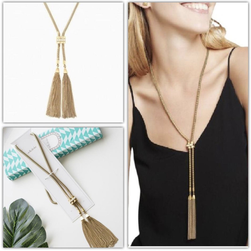 S&D Jacquline Tassel Necklace , Gold,