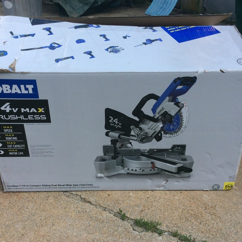 Kobalt 7-1/4-in-Amp 24-Volt Max Dual Bevel Bevel Sliding Compound Miter Saw *TOOL ONLY* *NEVER USED*